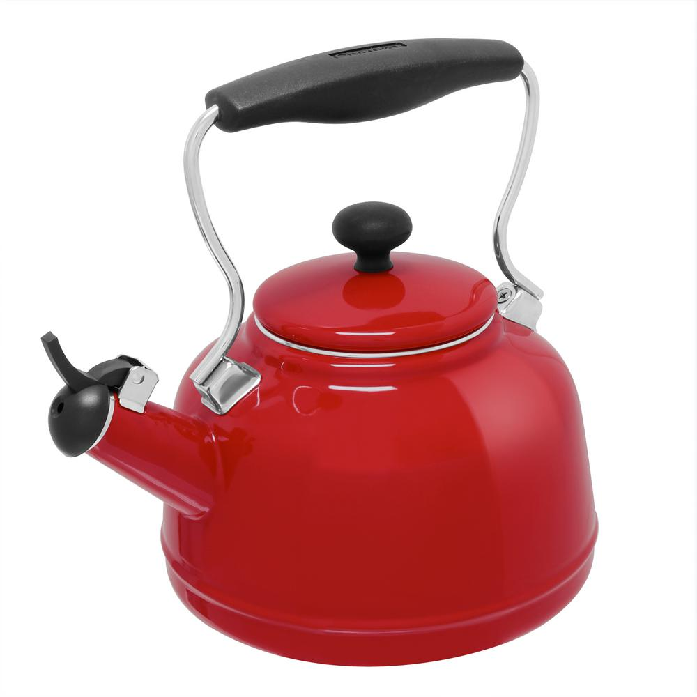 Chantal 1 7 qt enamel on steel vintage tea kettle in chili red 37 vint re the home depot - Chantal teapots ...
