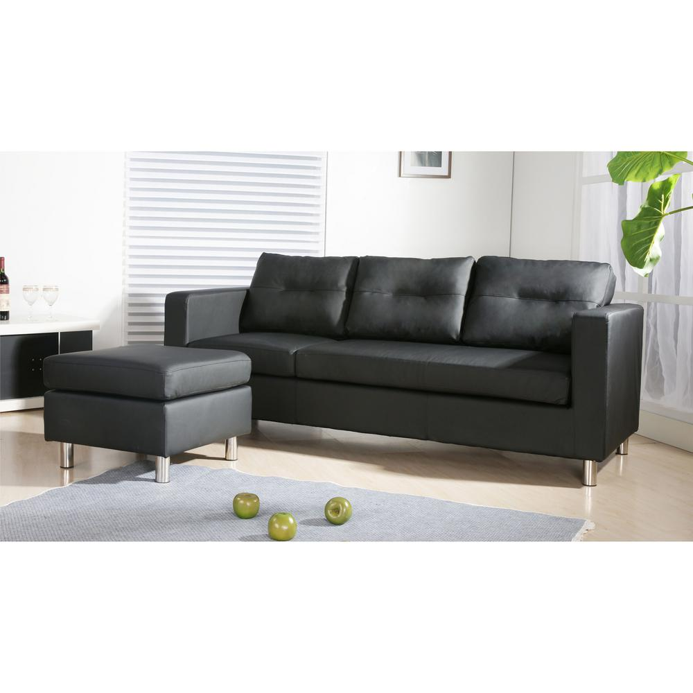 Landon Sectional Sofa in Black Leatherette