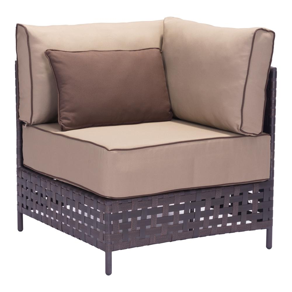 ZUO Pinery Brown Corner Patio Sectional Chair with Beige Cushion