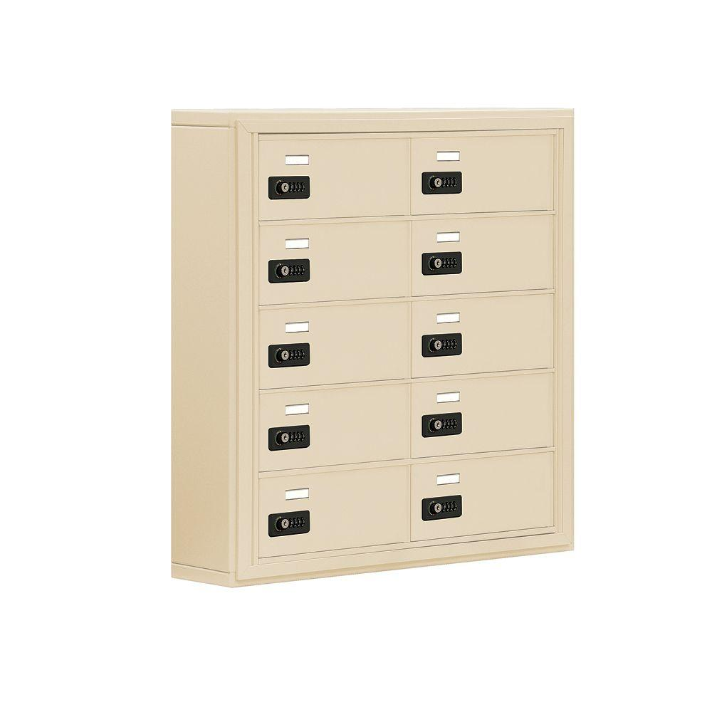 Salsbury Industries 19000 Series 30.5 in. W x 31 in. H x 6.25 in. D 10 B Doors S-Mount Resettable Locks Cell Phone Locker in Sandstone