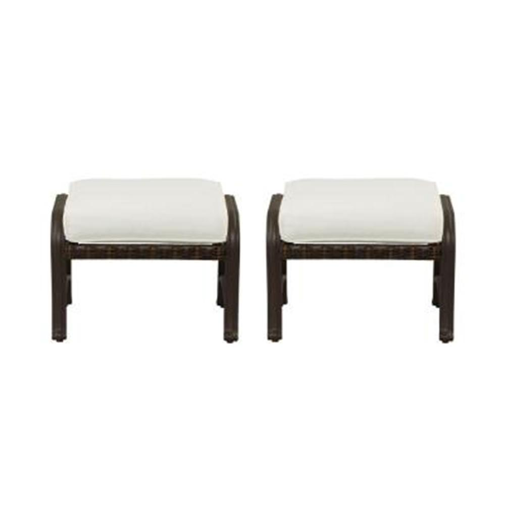 Hampton Bay Pembrey Patio Ottoman with Cushion Insert (2-Pack) (Slipcovers Sold
