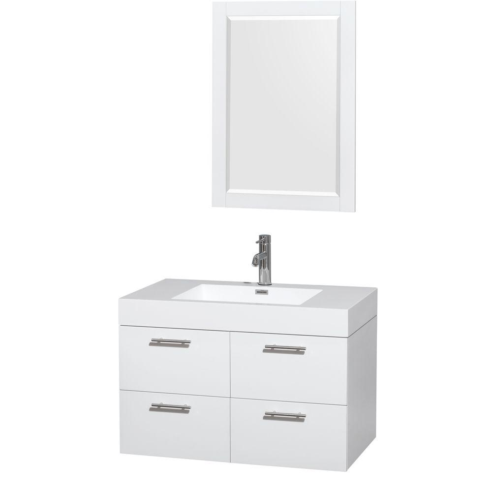 Amare 35 in. Vanity in Glossy White with Acrylic-Resin Vanity Top