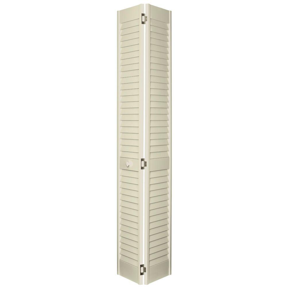 Home Fashion Technologies 2 in. Louver/Louver Behr Distant Tan Solid Wood Interior Bifold Closet Door-DISCONTINUED