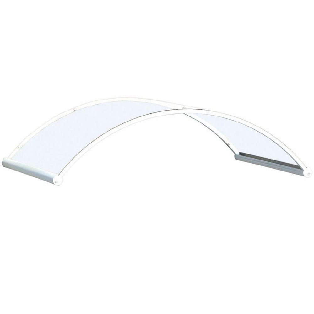 Palram Orion 1350 Orion 4.4 ft. Awning (35 in. H x 14 in. D) in Clear/White