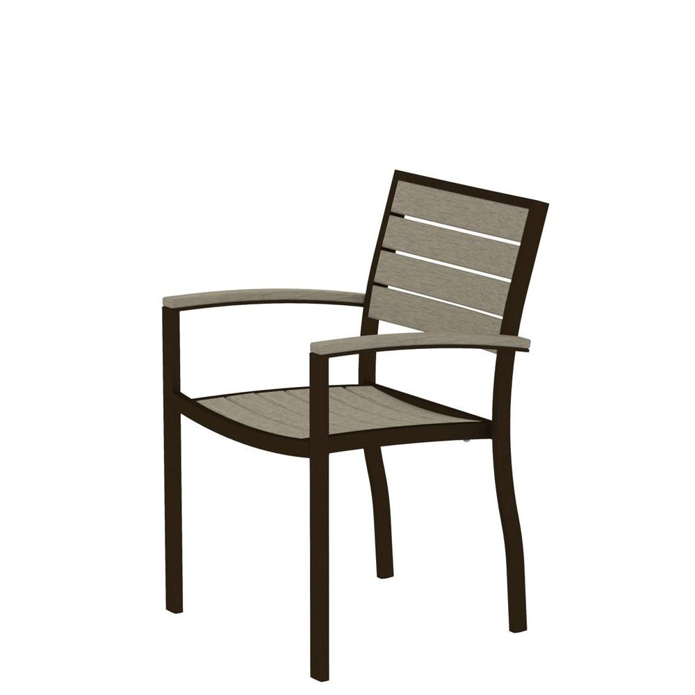 Euro Textured Bronze Patio Dining Arm Chair with Sand Slats