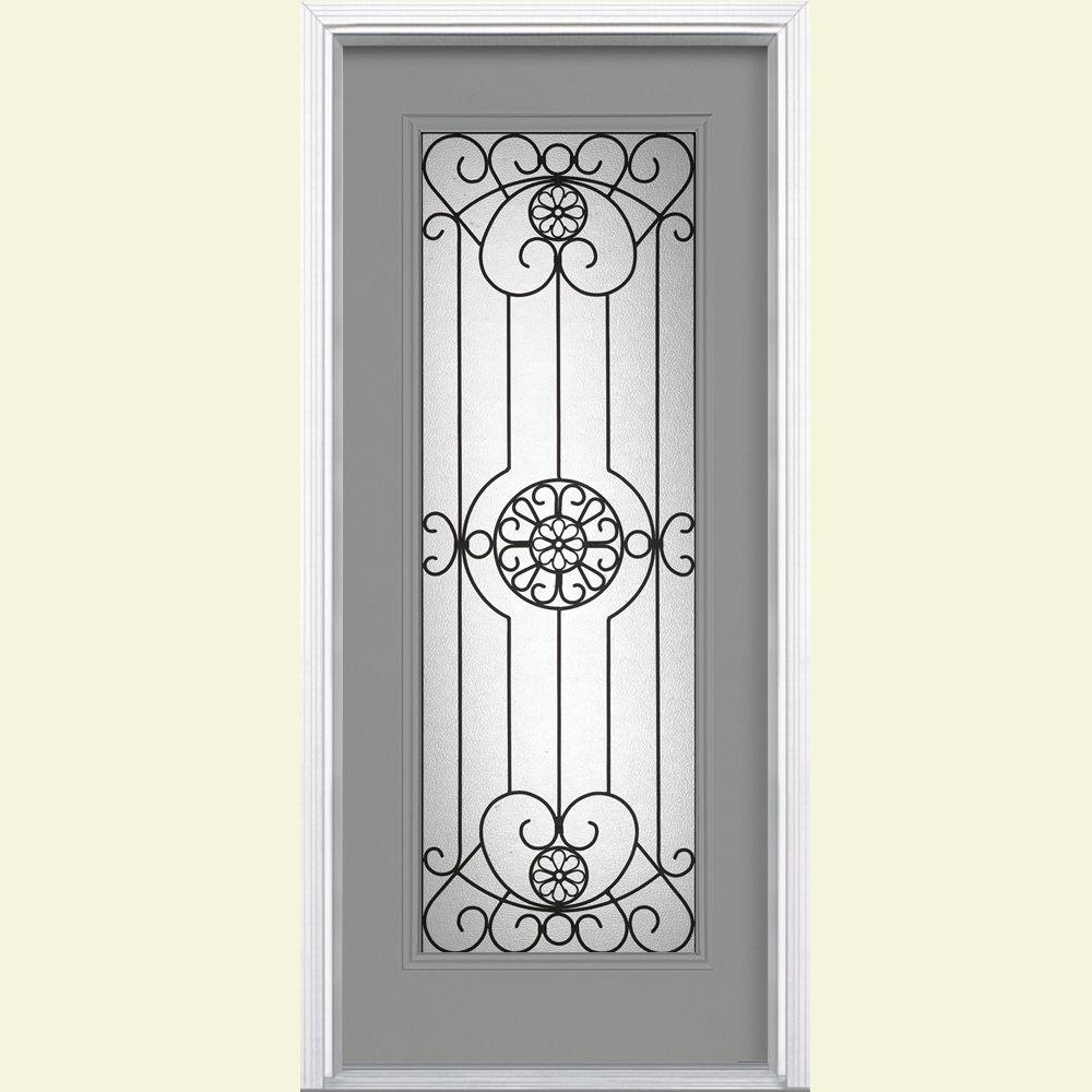 Masonite Santa Maria Full Lite Painted Steel Prehung Front Door with Brickmold-DISCONTINUED