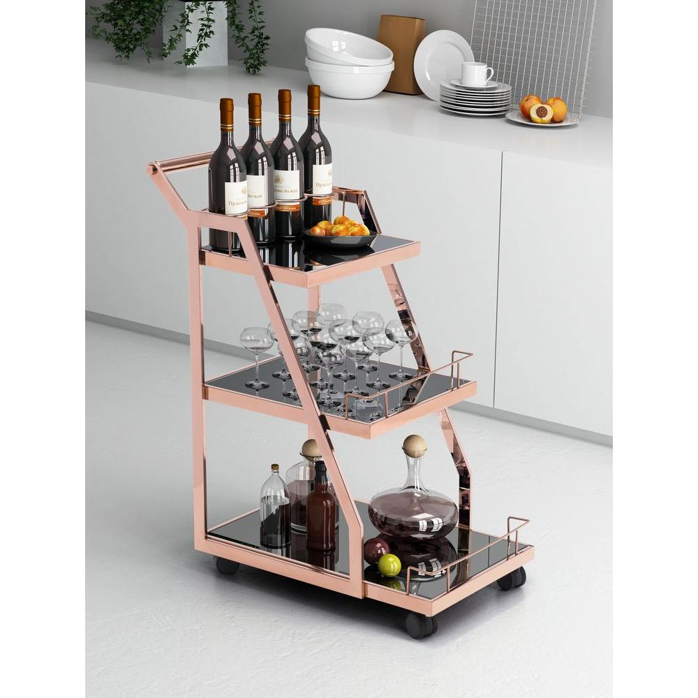 ZUO Acropolis Tempered Glass Serving Cart in Stainless Steel-100367 - The