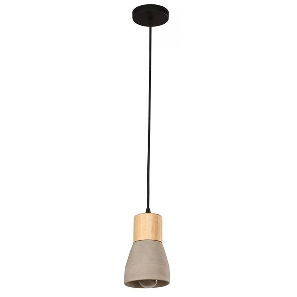Ciment 1-Light Cement and Wood Pendant Fixture-21955-H - The Home Depot