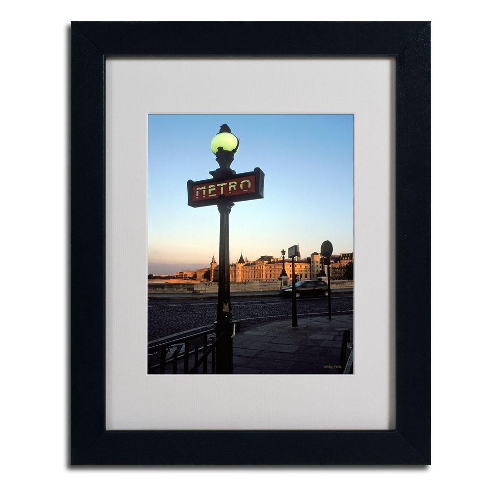 Trademark Fine Art 11 in. x 14 in. Le Metro at Dusk Matted Framed Art