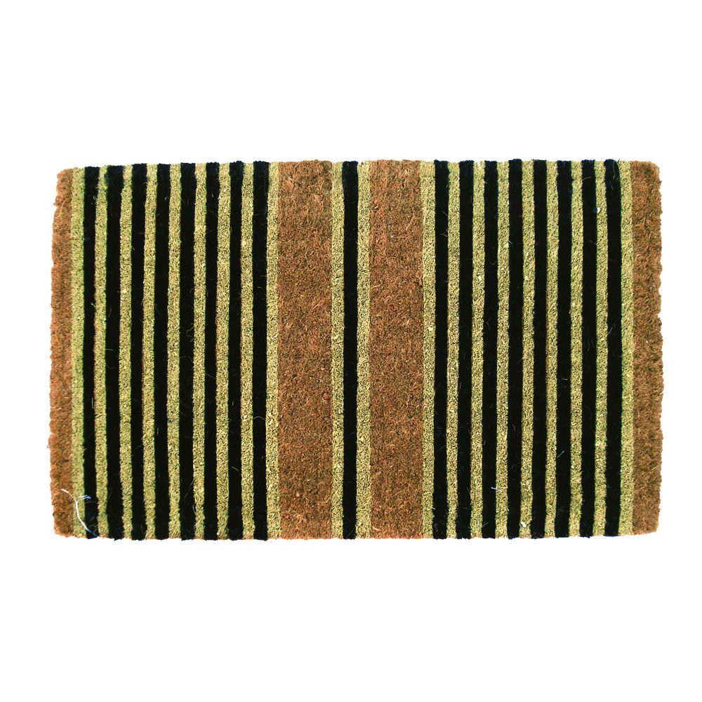 Ticking Stripes Black 18 in. x 30 in. Extra Thick Coconut