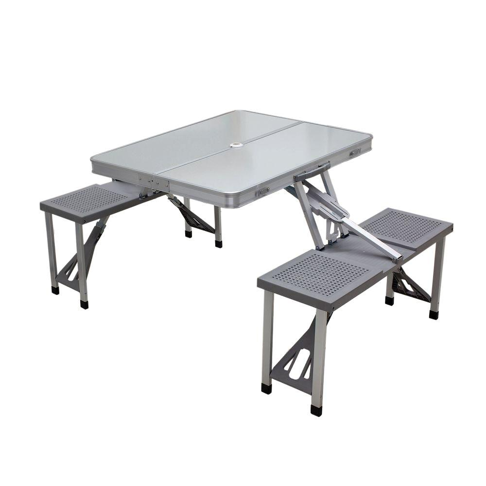 Picnic Time Aluminum Patio Picnic Table with Grey Seats - Picnic Time Aluminum Patio Picnic Table With Grey Seats-801-00-133