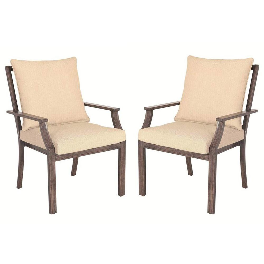 Hampton Bay Millstone Patio Dining Chair with Desert Sand Cushion (2-Pack)