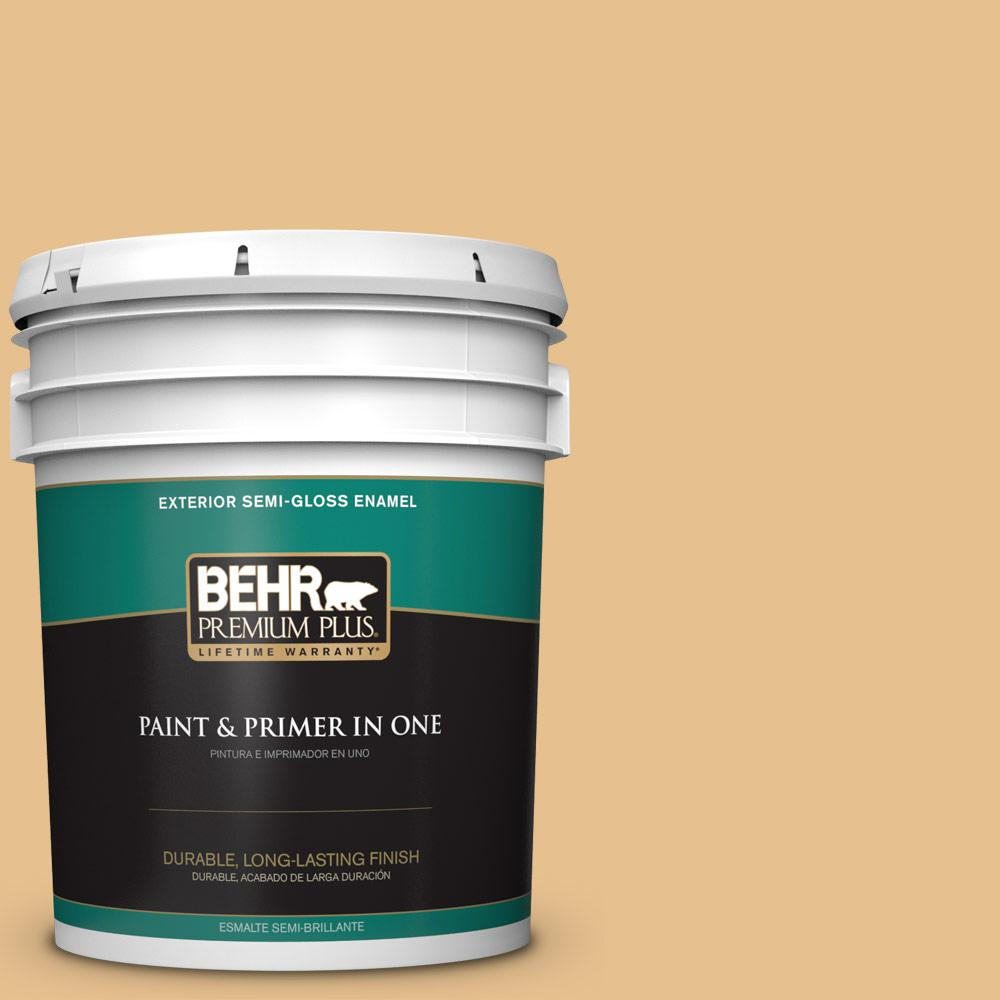 5 gal. #T17-02 Gold Hearted Semi-Gloss Enamel Exterior Paint