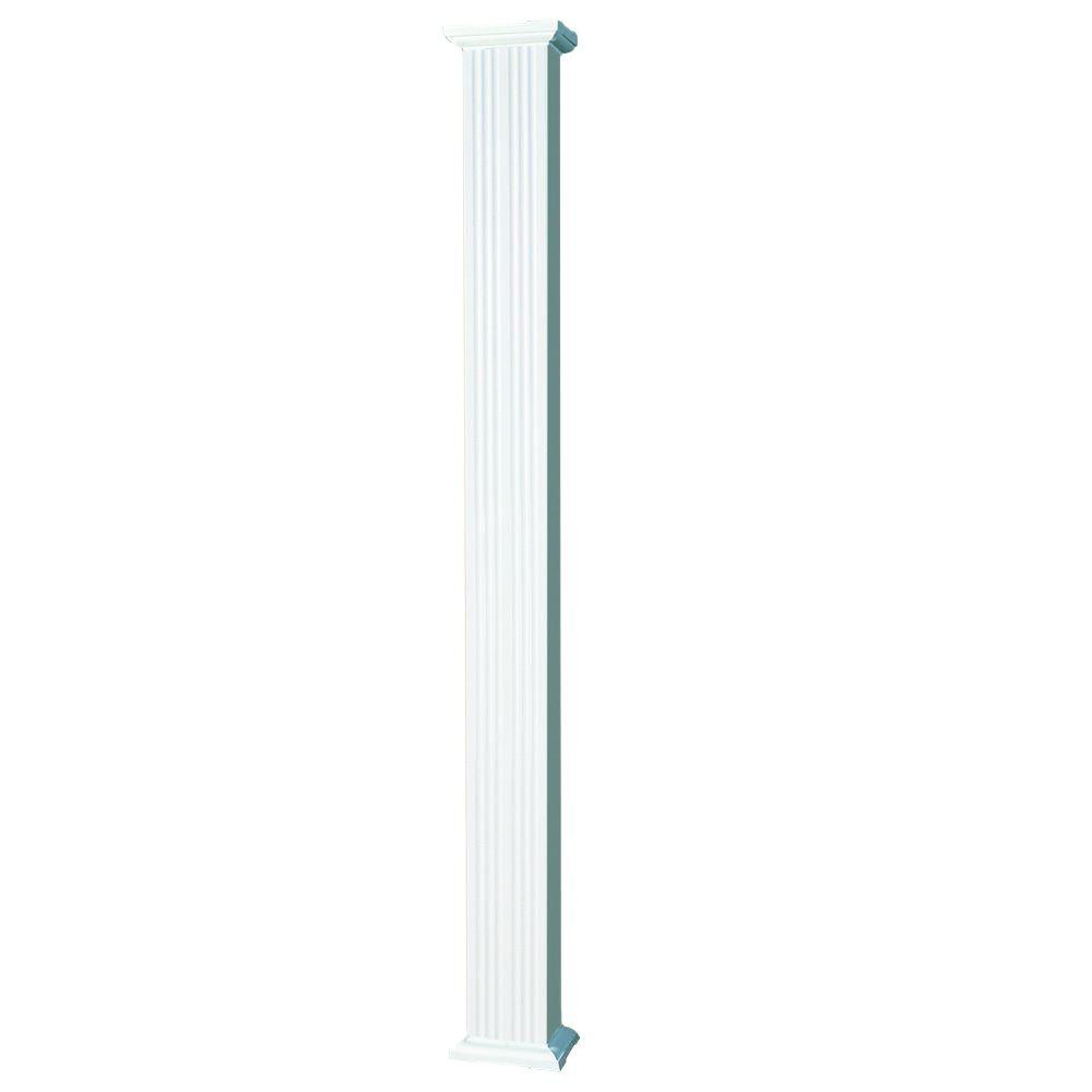 AFCO 8 ft. x 6 in. Aluminum Square Column with Cap and Base