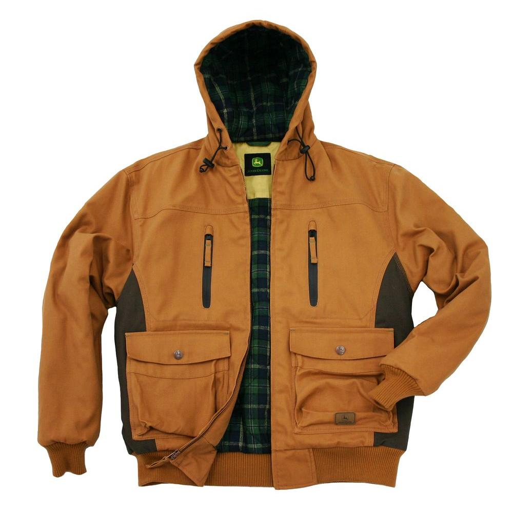 John Deere Heavyweight Duck Insulated Hooded Large Regular Bomber Jacket in Brown