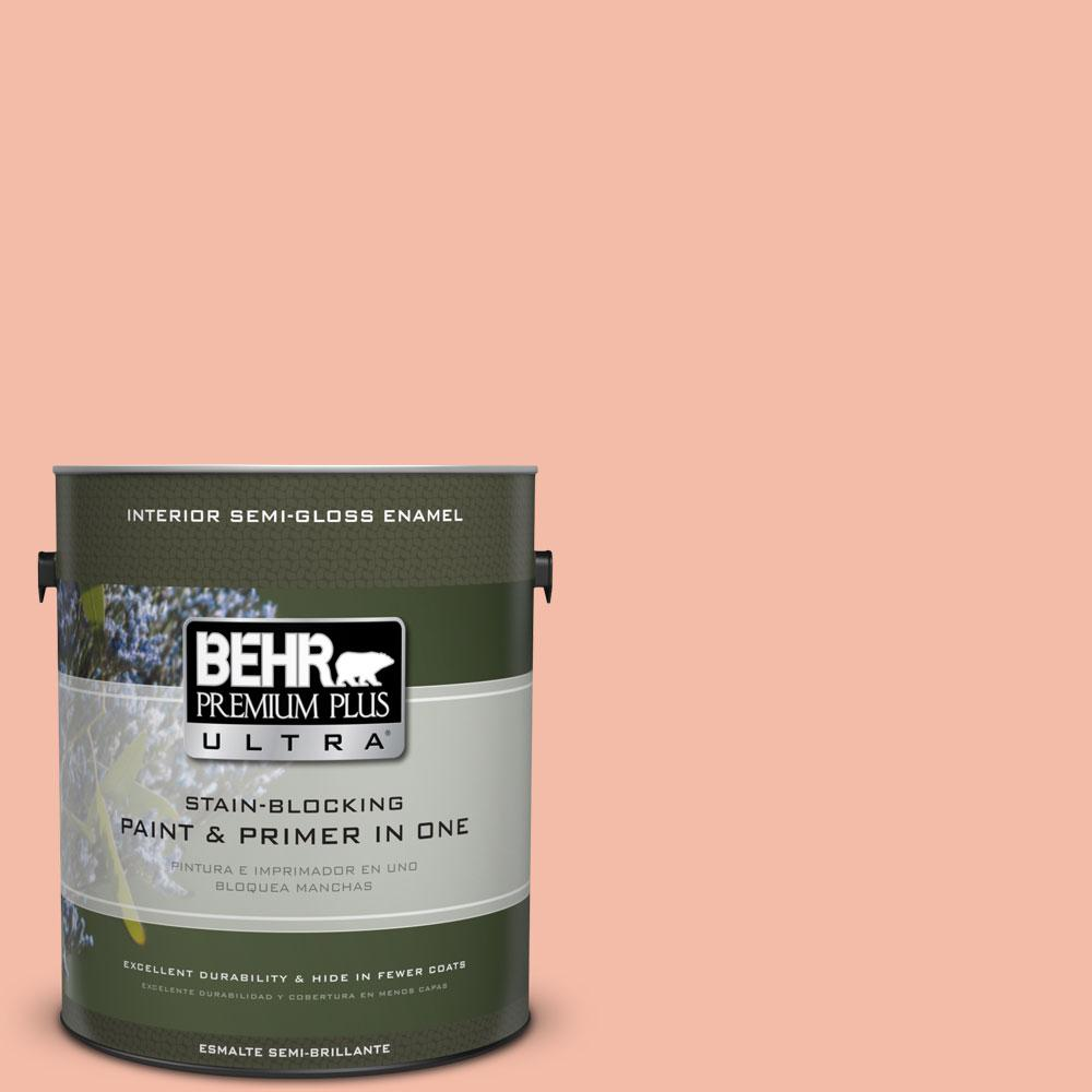 BEHR Premium Plus Ultra 1 gal. #HDC-CT-14A Sunkissed Apricot Semi-Gloss Enamel