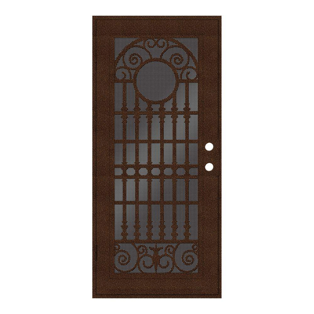 32 in. x 80 in. Spaniard Copperclad Left-Hand Surface Mount Aluminum
