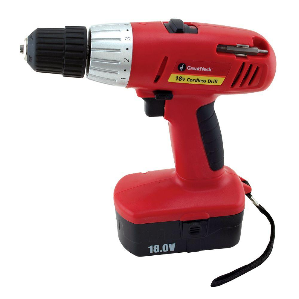 Great Neck Saw 18-Volt Cordless Drill with Extra Battery
