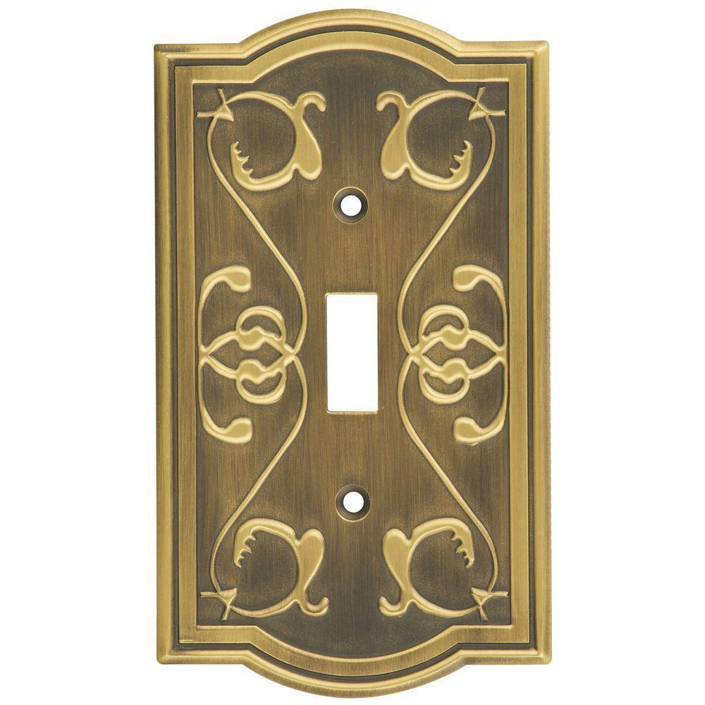 Stanley-National Hardware Victoria 1 Gang Switch Wall Plate - Antique brass-DISCONTINUED