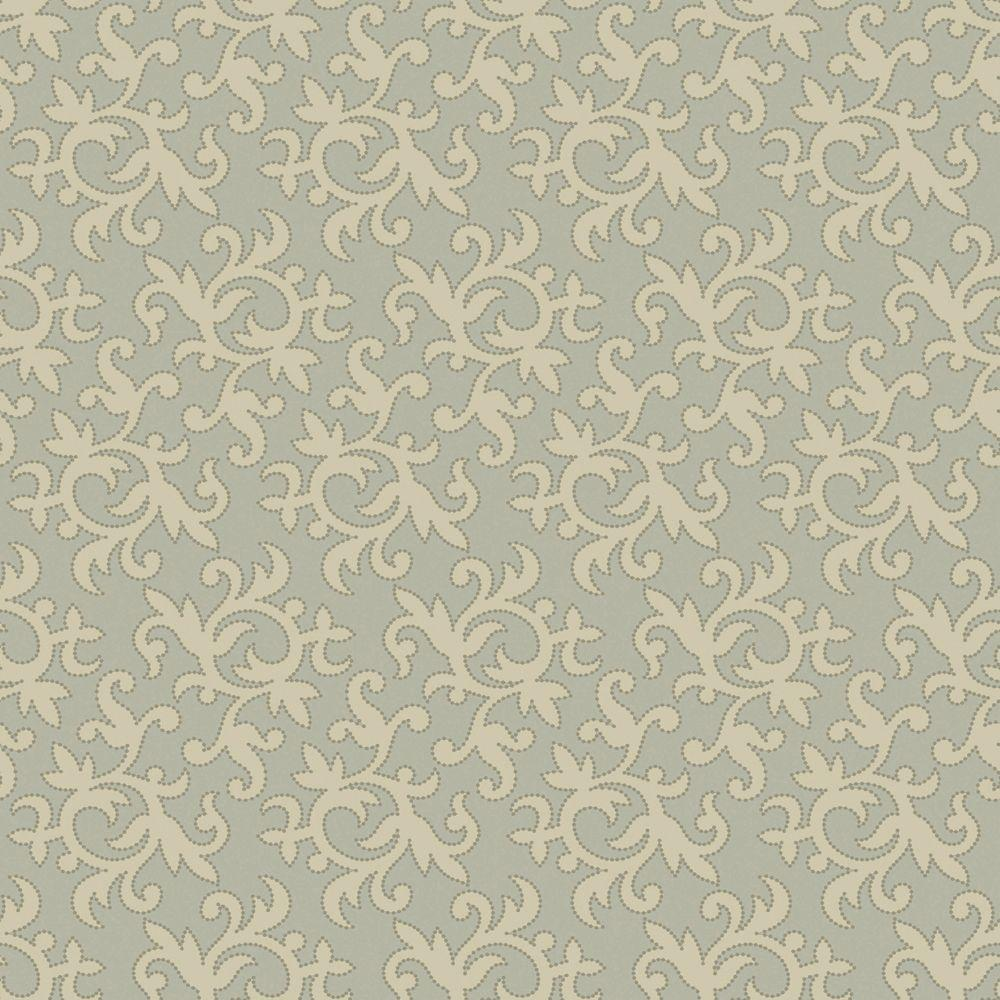 The Wallpaper Company 56 sq. ft. Taupe and Beige All-Over Multi Swirl Print with Metallic Outline Wallpaper