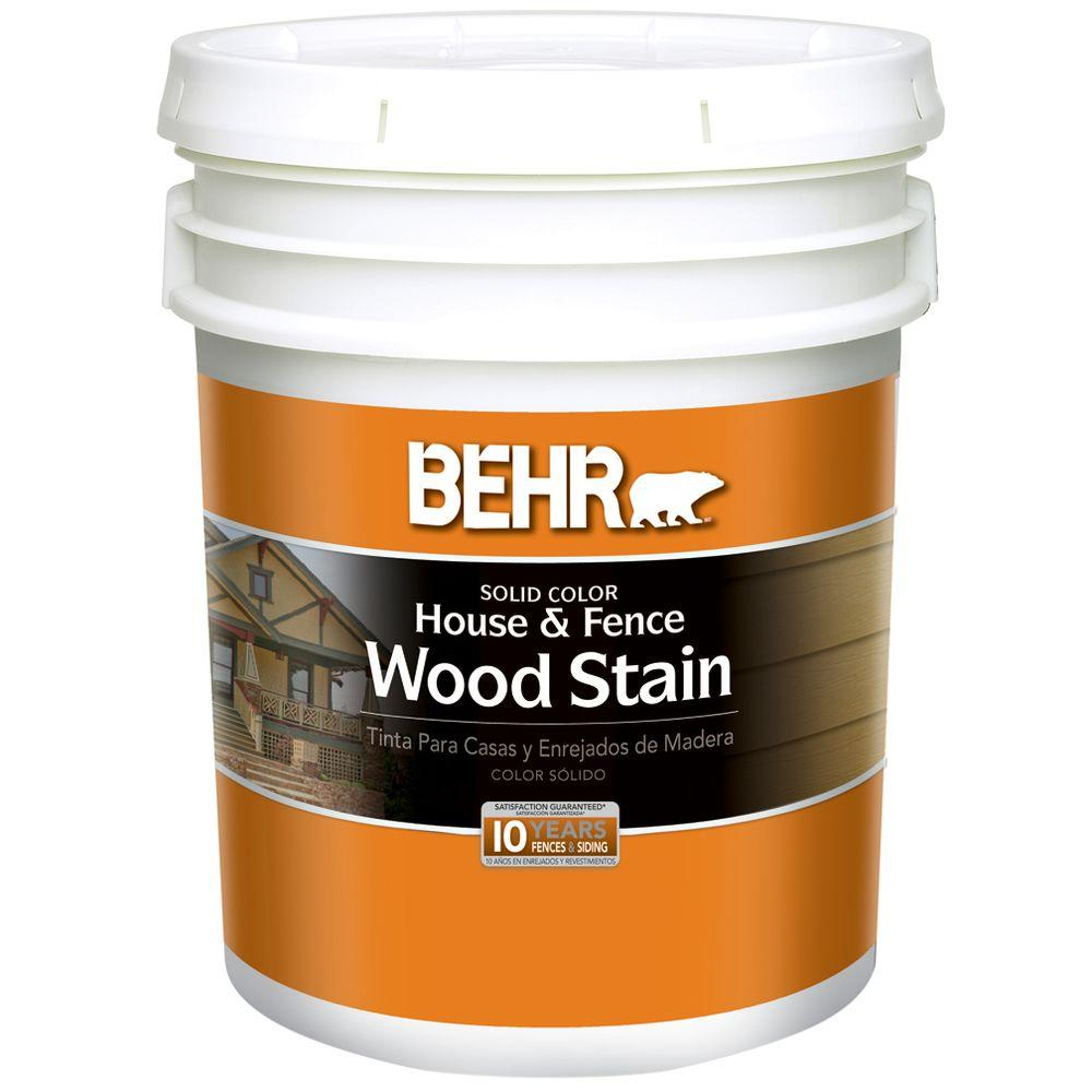 BEHR 5-gal. White Solid Color House and Fence Wood Stain