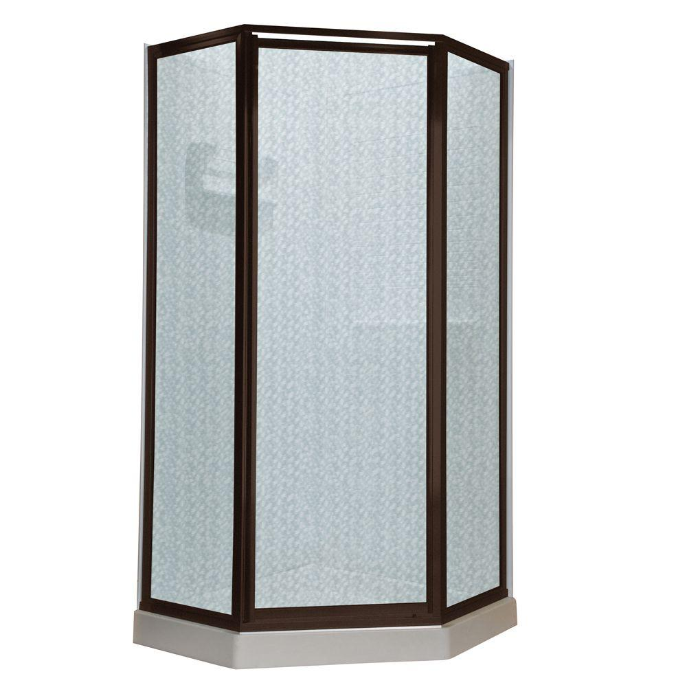 American Standard Prestige 24.1 in. x 68.5 in. Neo-Angle Shower Door in Oil Rubbed Bronze with Hammered Glass