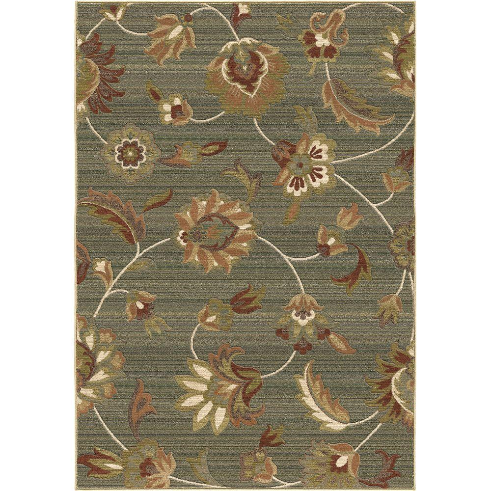Orian Rugs Garden Story Blue Floral 5 ft. 3 in. x