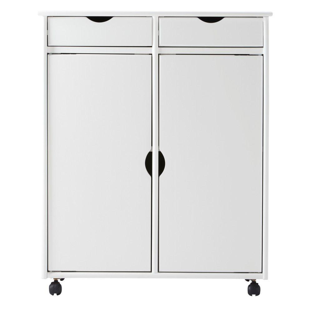 Home Decorators Collection Stanton 29 in. White 2-Drawer with 2-Door Storage Cart