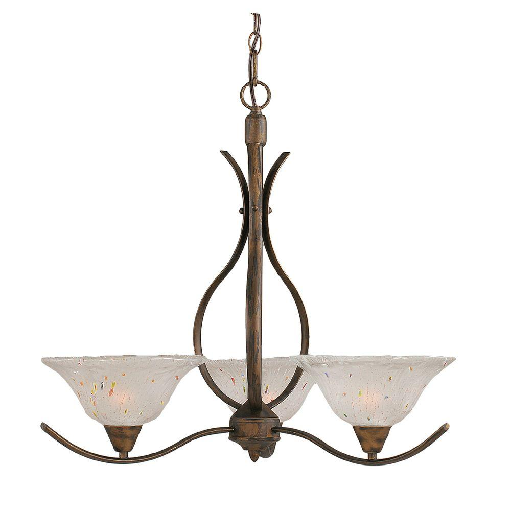 Concord 3-Light Bronze Chandelier with Frosted Crystal Glass