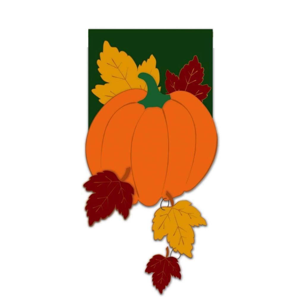 Evergreen 1 ft. x 1-1/2 ft. Applique Fall Pumpkin with Falling Leaves Flag