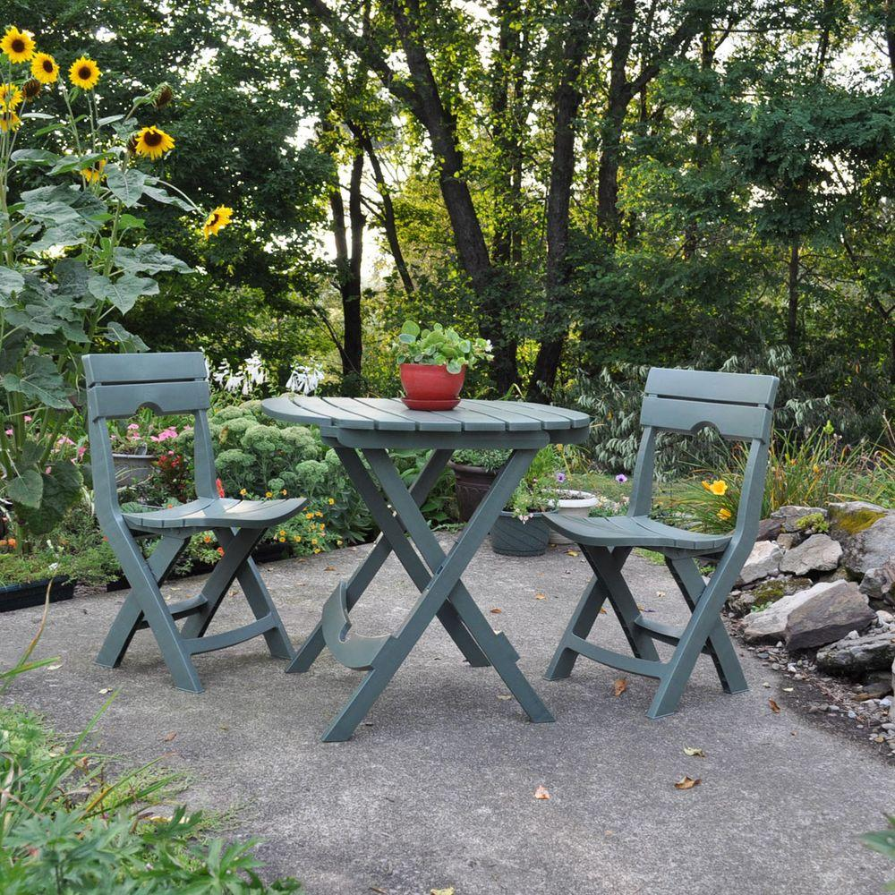 Adams Manufacturing Quik Fold Sage 3 Piece Patio Cafe Set