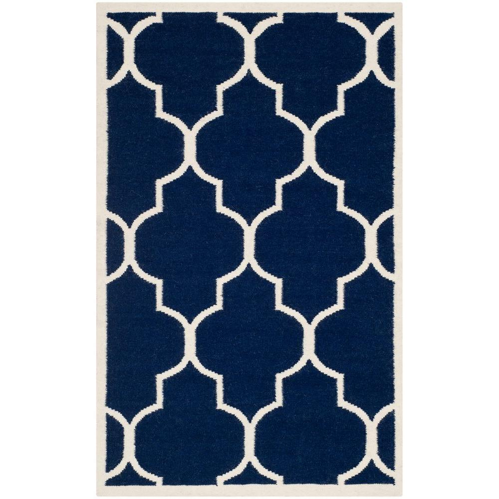 Dhurries Navy/Ivory (Blue/Ivory) 3 ft. x 5 ft. Area Rug