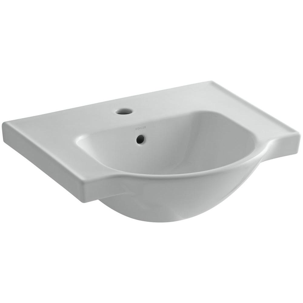 KOHLER Veer 4 in. Vitreous China Pedestal Sink Basin in Ice Grey with with Overflow Drain
