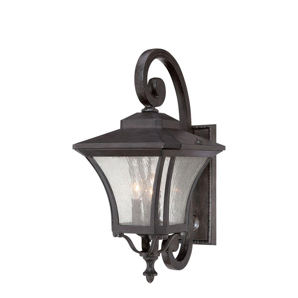 Tuscan Collection 3-Light Outdoor Black Coral Wall Mount Light Fixture