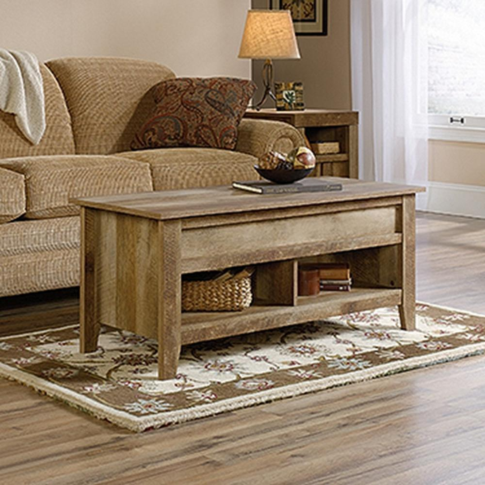 Dakota Pass Craftsman Oak Built-In Storage Coffee Table - Coffee Table - Accent Tables - Living Room Furniture - Furniture
