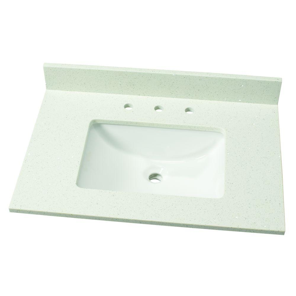31 in. W Quartz Single Vanity Top in Sparkling White with