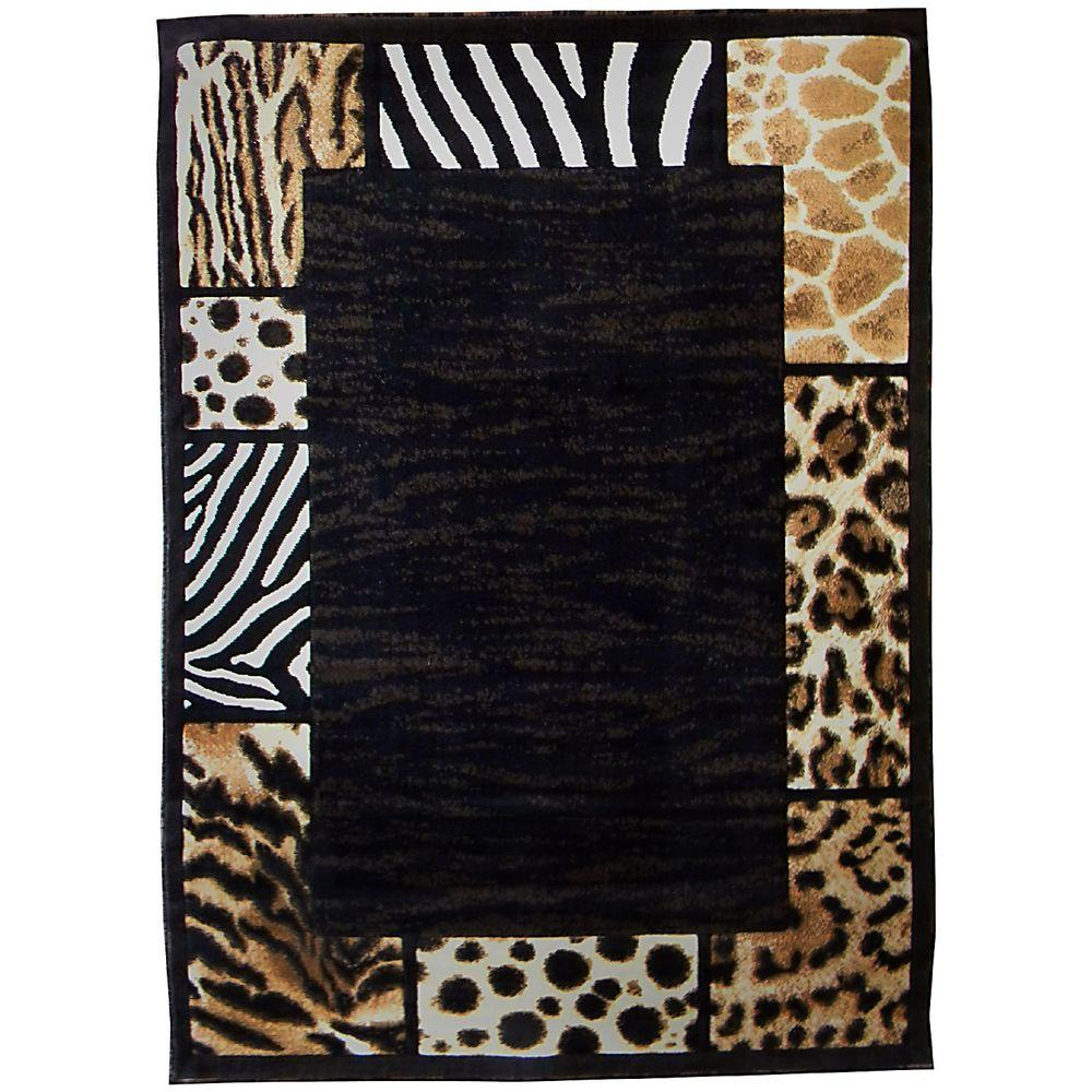 Skinz Animal Skin Print Patchword Border Brown 5 ft. x 7