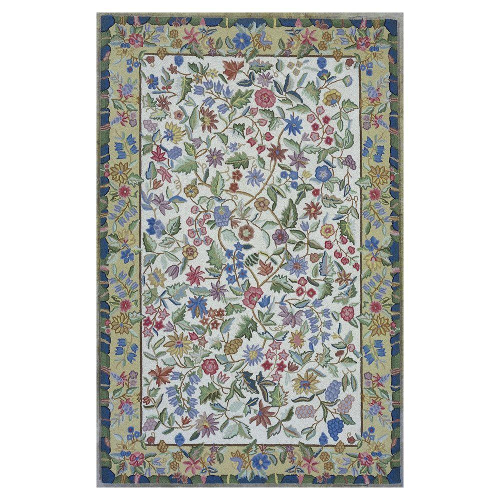 Kas Rugs Wild Flowers Ivory 8 ft. x 10 ft. 6 in. Area Rug