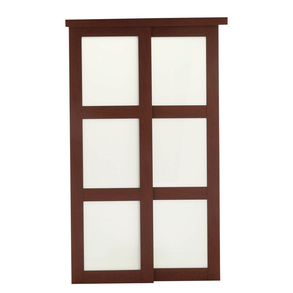 TRUporte 72 in. x 80 in. 2310 Series Cherry 3-Lite Tempered Frosted Glass Composite Interior Sliding Door