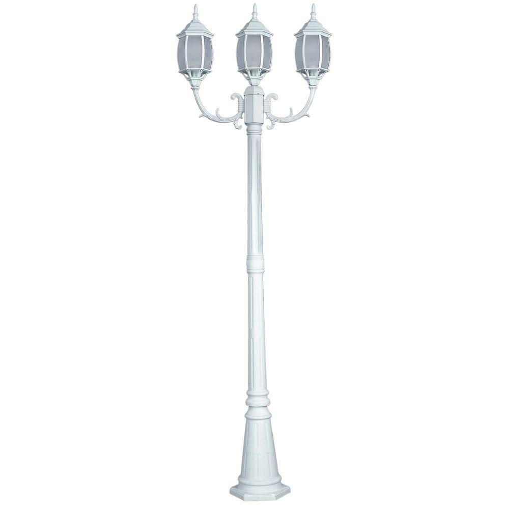 CANARM Hayden 3-Light Outdoor White Post Light with Frosted Glass