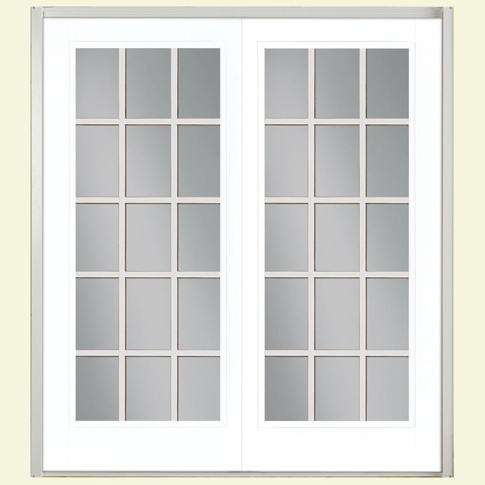 Masonite 72 in. x 80 in. Ultra White Prehung Left-Hand Inswing 15 Lite Steel Patio Door with No Brickmold in Vinyl Frame