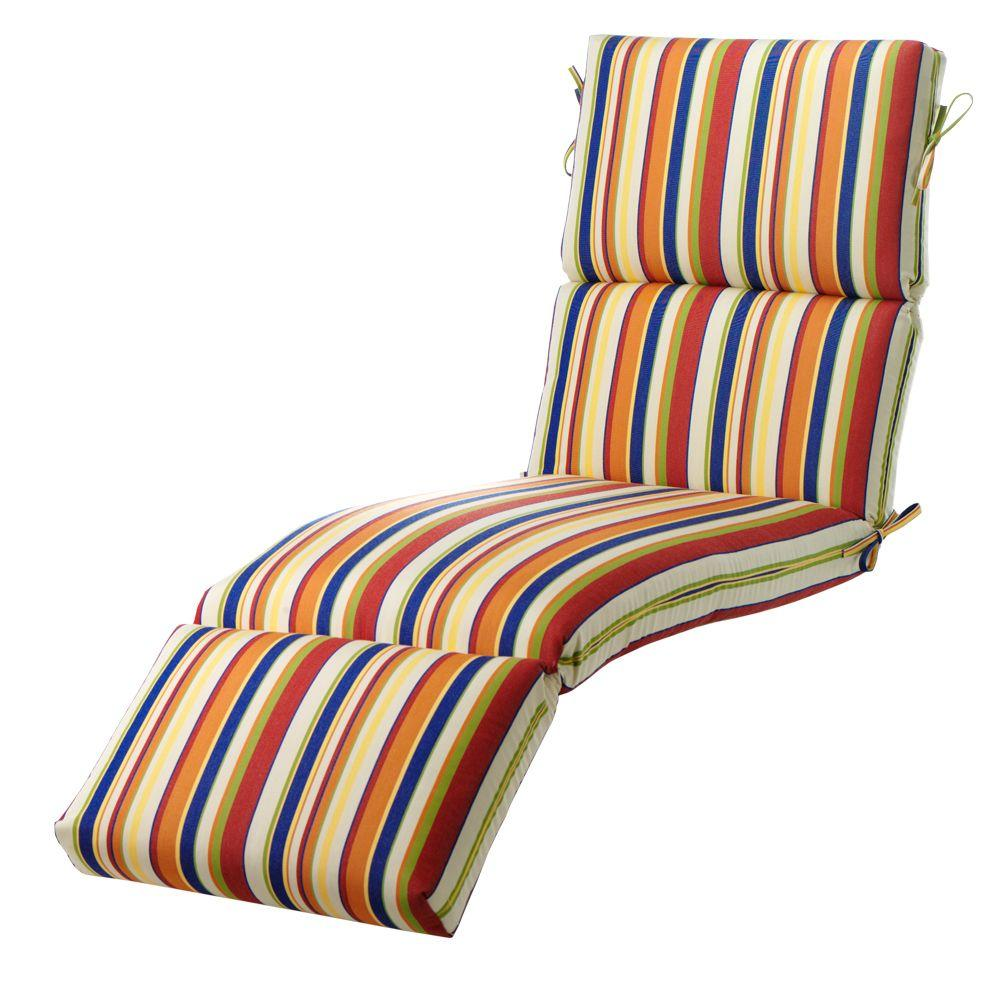 Home Decorators Collection Carnival Stripe Outdoor Chaise Lounge Cushion-DISCONTINUED