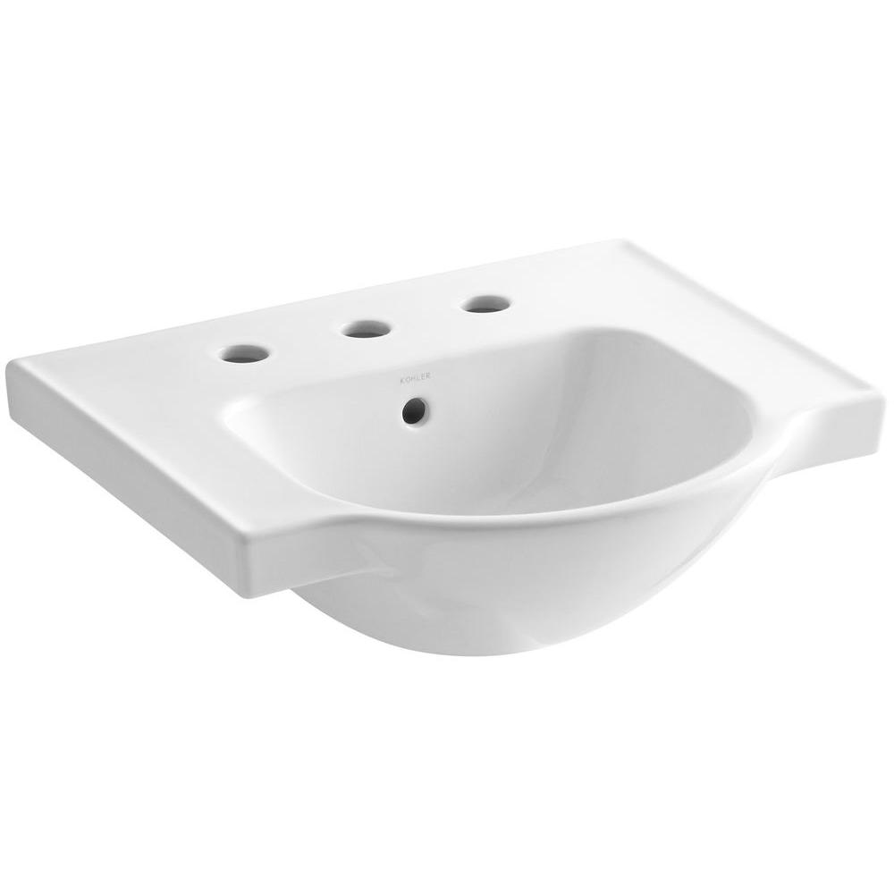 Veer 4 in. Vitreous China Pedestal Sink Basin in White with