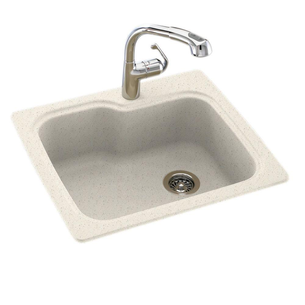 Swan Dual Mount Composite 25 in. 1-Hole Single Bowl Kitchen Sink
