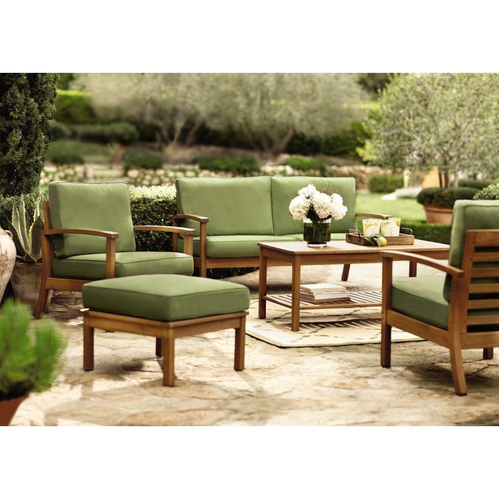 Martha Stewart Living Lake Carolina Smoked Natural and Green 6-Piece Patio Seating Set-DISCONTINUED