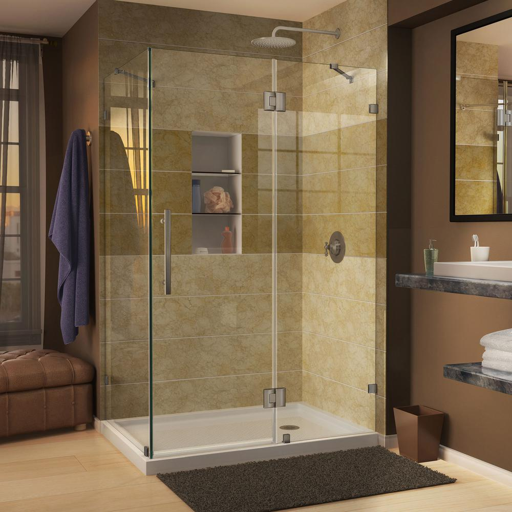 DreamLine QuatraLux 34-5/16 in. W x 34-5/16 in. D x 72 in. H Frameless Hinged Shower Enclosure in Brushed Nickel
