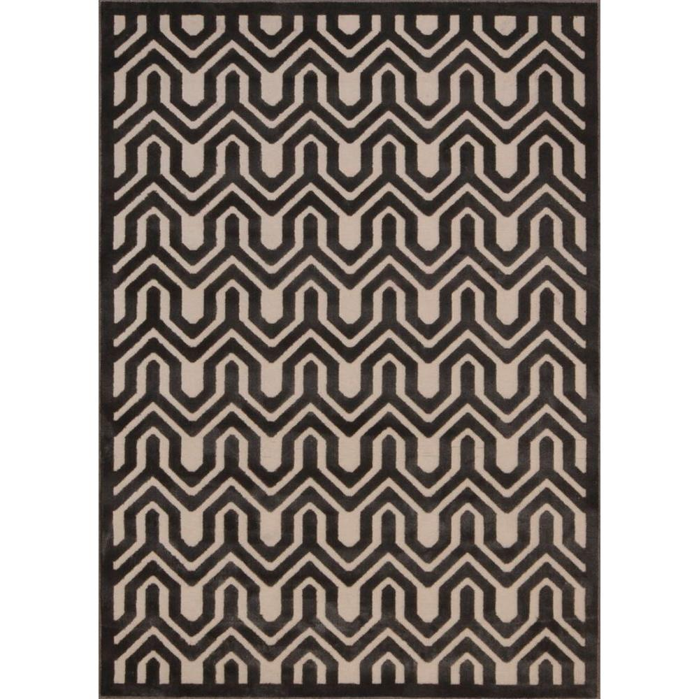 Nourison Overstock Ultima Ivory/Charcoal 5 ft. 3 in. x 7 ft. 3 in. Area Rug