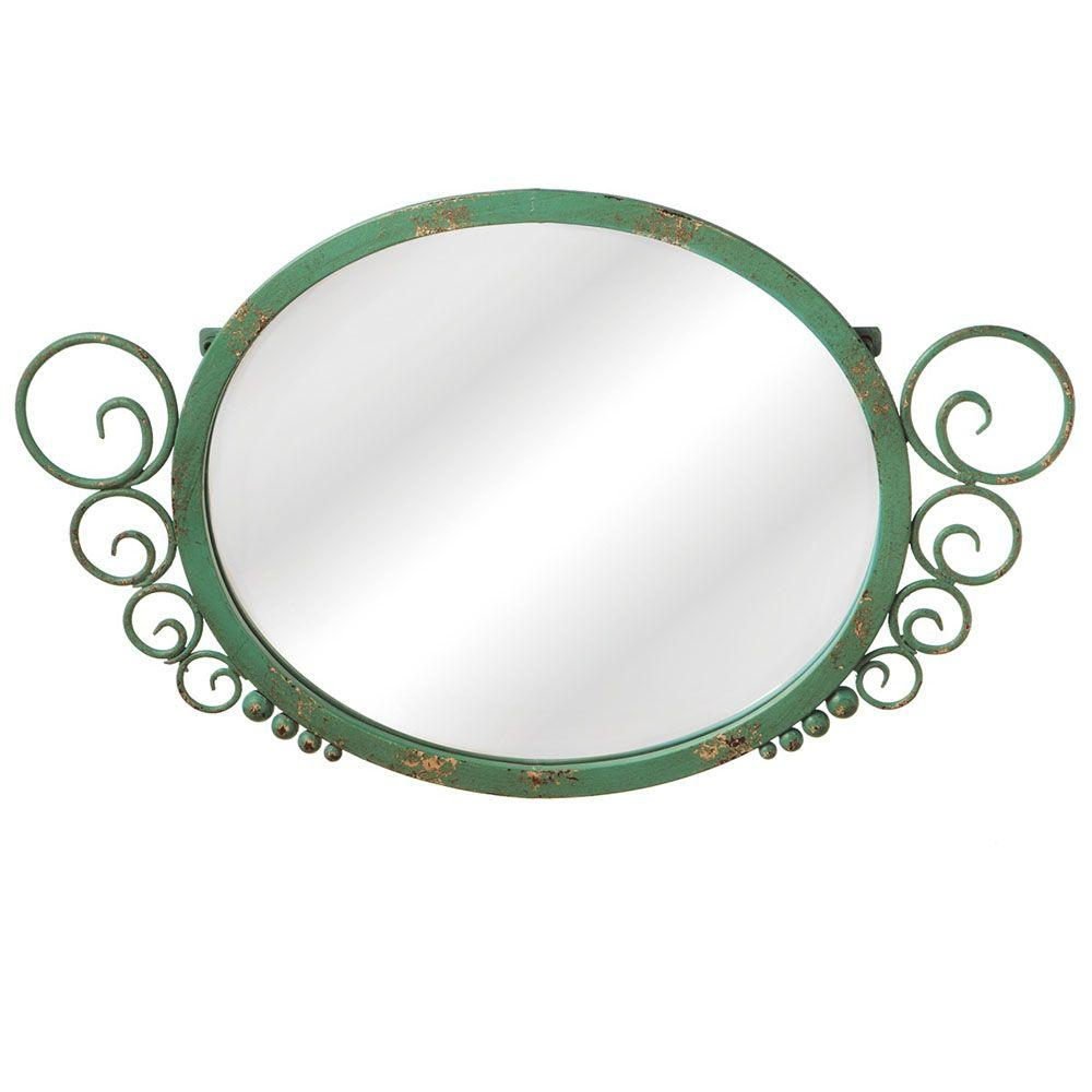Filament Design Sundry 15.5 in. x 25.5 in. Distressed Green Scroll Framed Mirror-DISCONTINUED