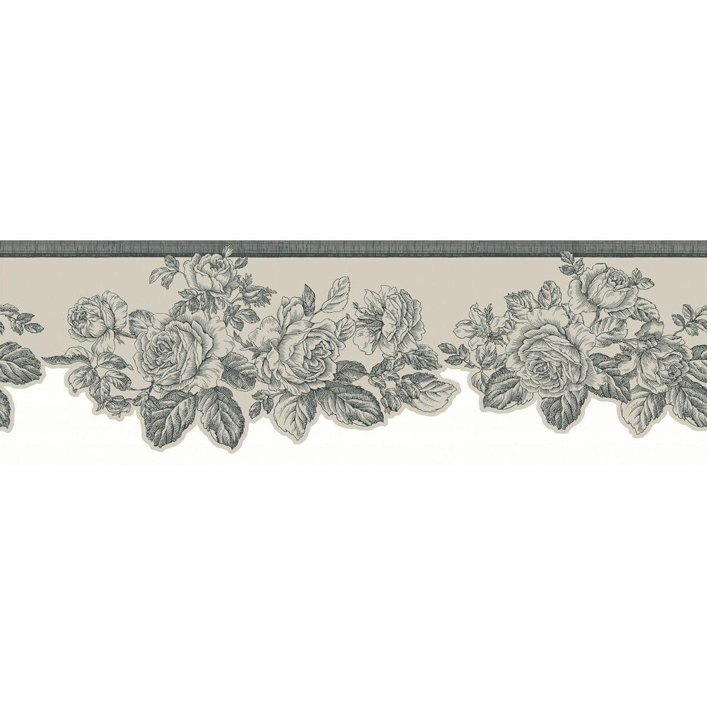 The Wallpaper Company 5.75 in. x 15 ft. Silver Metallic Rose Border