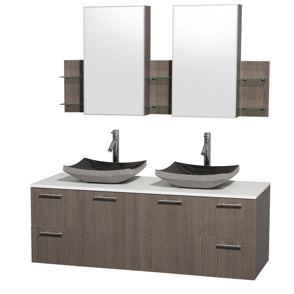 60 double sink vanity with granite top. amare 60 in. double vanity in grey oak with man-made stone sink granite top s